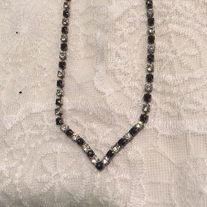 Vintage black and white rhinestone necklace